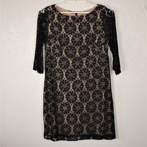 Jessica Howard Black Lace Overlay Nude Lining 14
